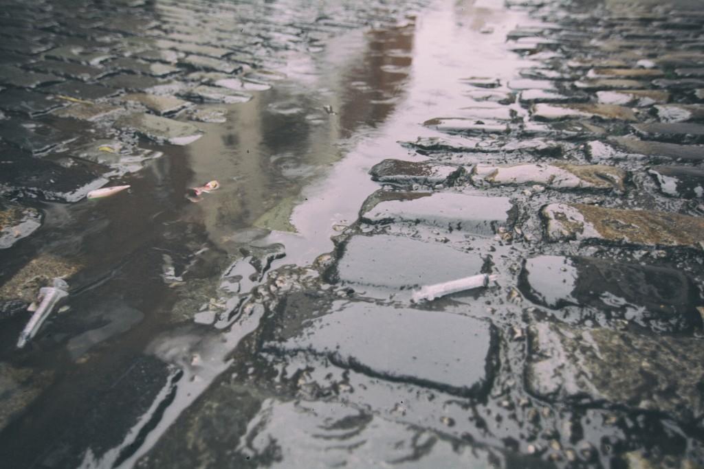 Syringe on the cobbles. Dublin City Centre, December 2015.