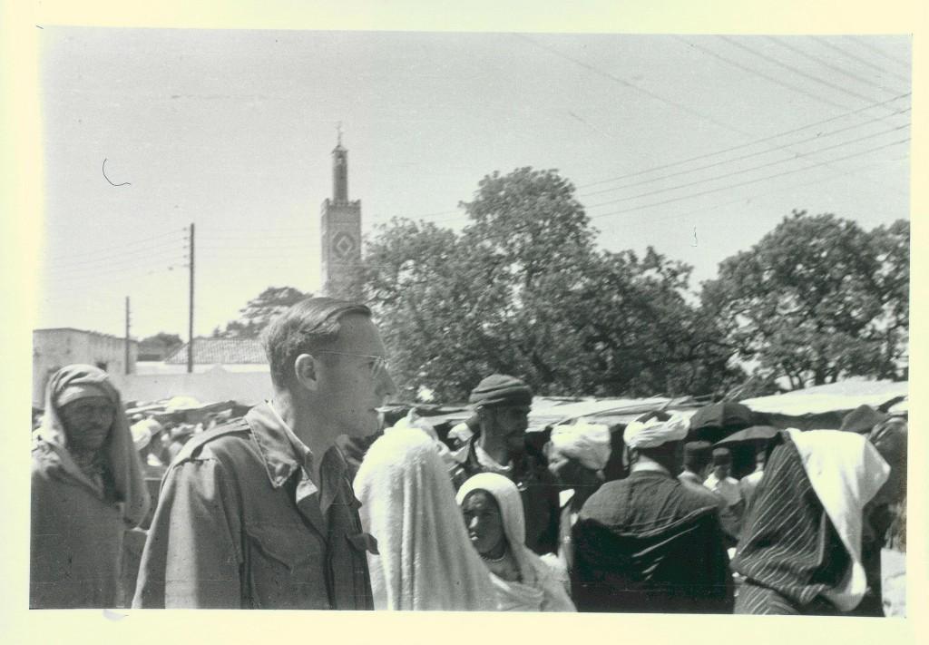 William Burroughs walking in the Medina, Tangier