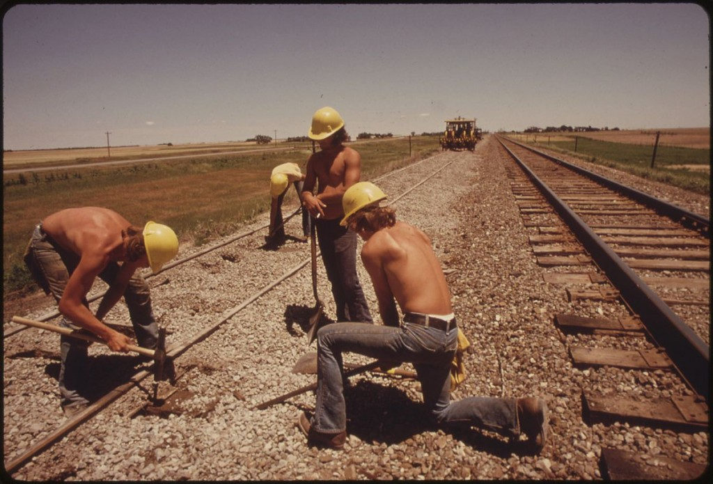 Rail track construction, Kansas, 1974 (Source: Wikimedia Commons)
