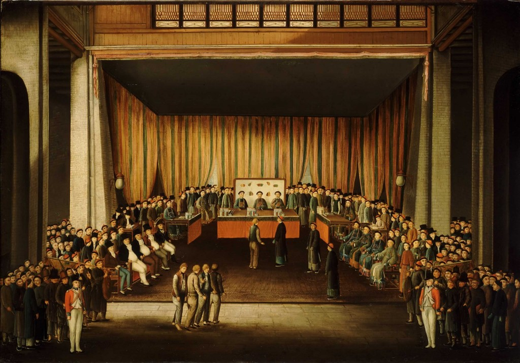 Trial of Four British Seamen at Canton (Scene Inside Court) 1807. (Source: Wikimedia Commons)