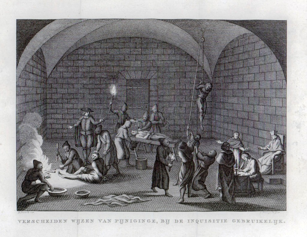 An artists rendering of a 17th century Spanish Inquisition torture chamber (Source: Wikimedia Commons)