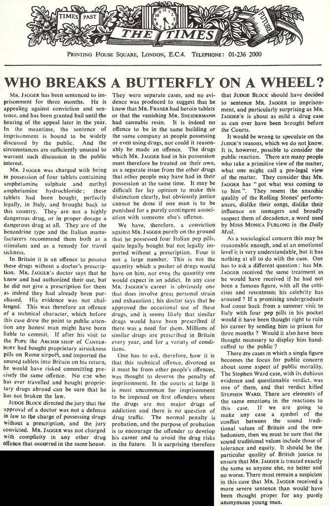 William Rees-Mogg's editorial in The Times. 1st August, 1967.