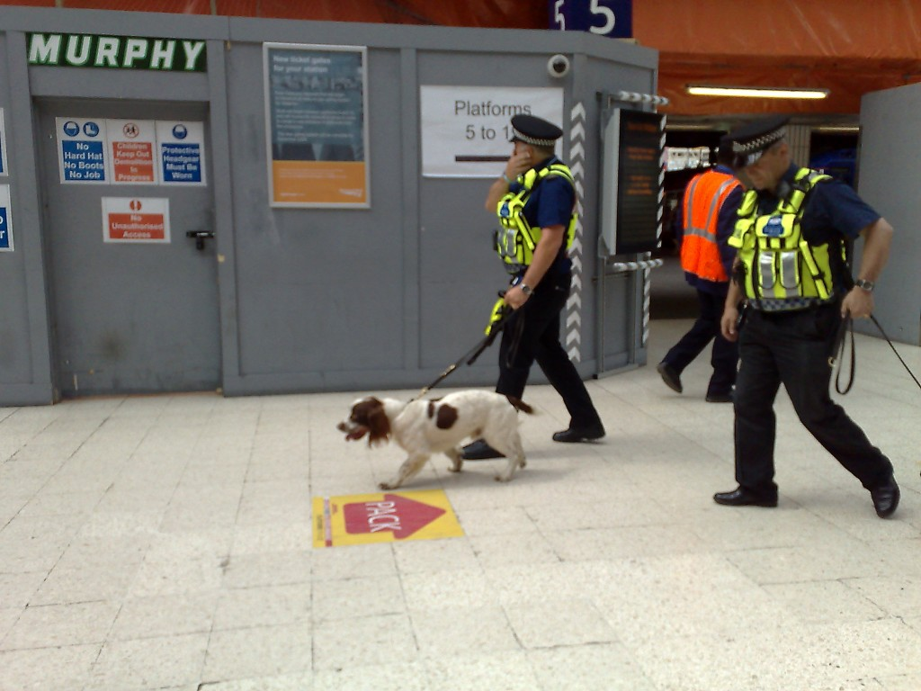 UK Police with a sniffer dog