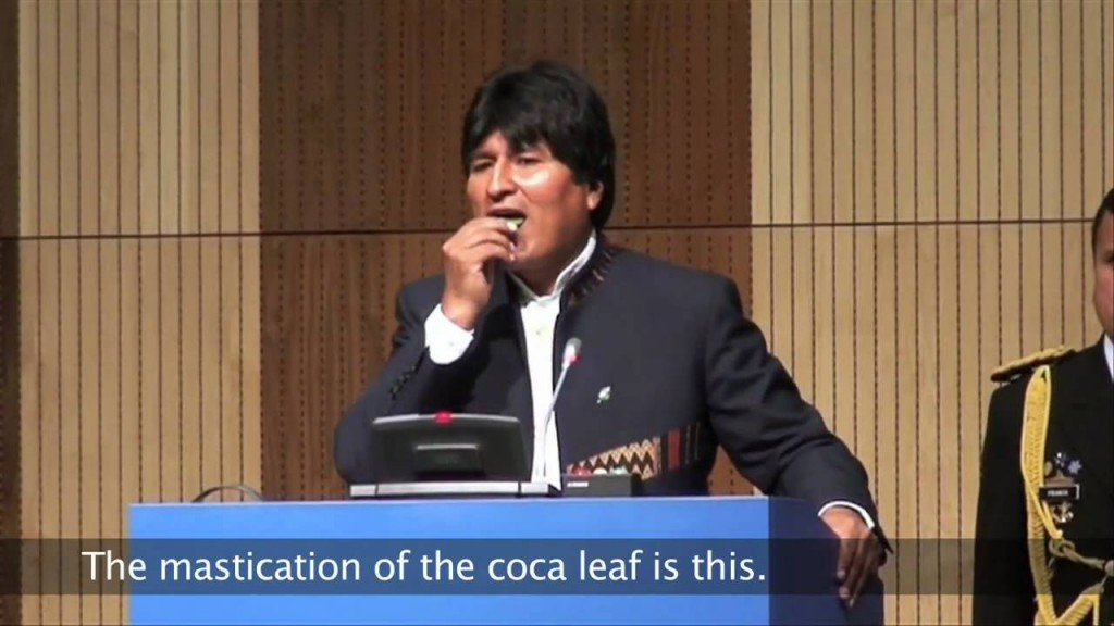 Evo Morales chewing on a coca leaf. (Source: Youtube)