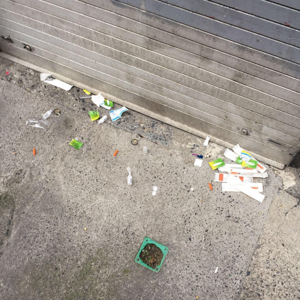 Drug related waste on Henry Place, Dublin. (Source: Ana Liffey Drug Project)