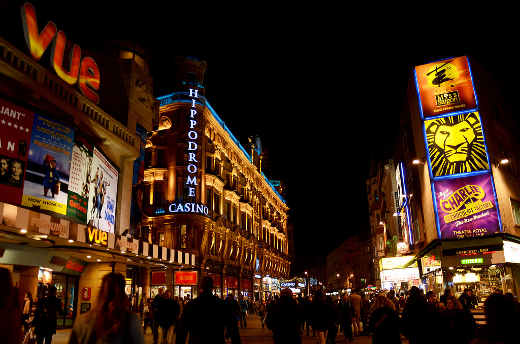Leicester Square at night (Source: Gian Cornachini, Flickr)