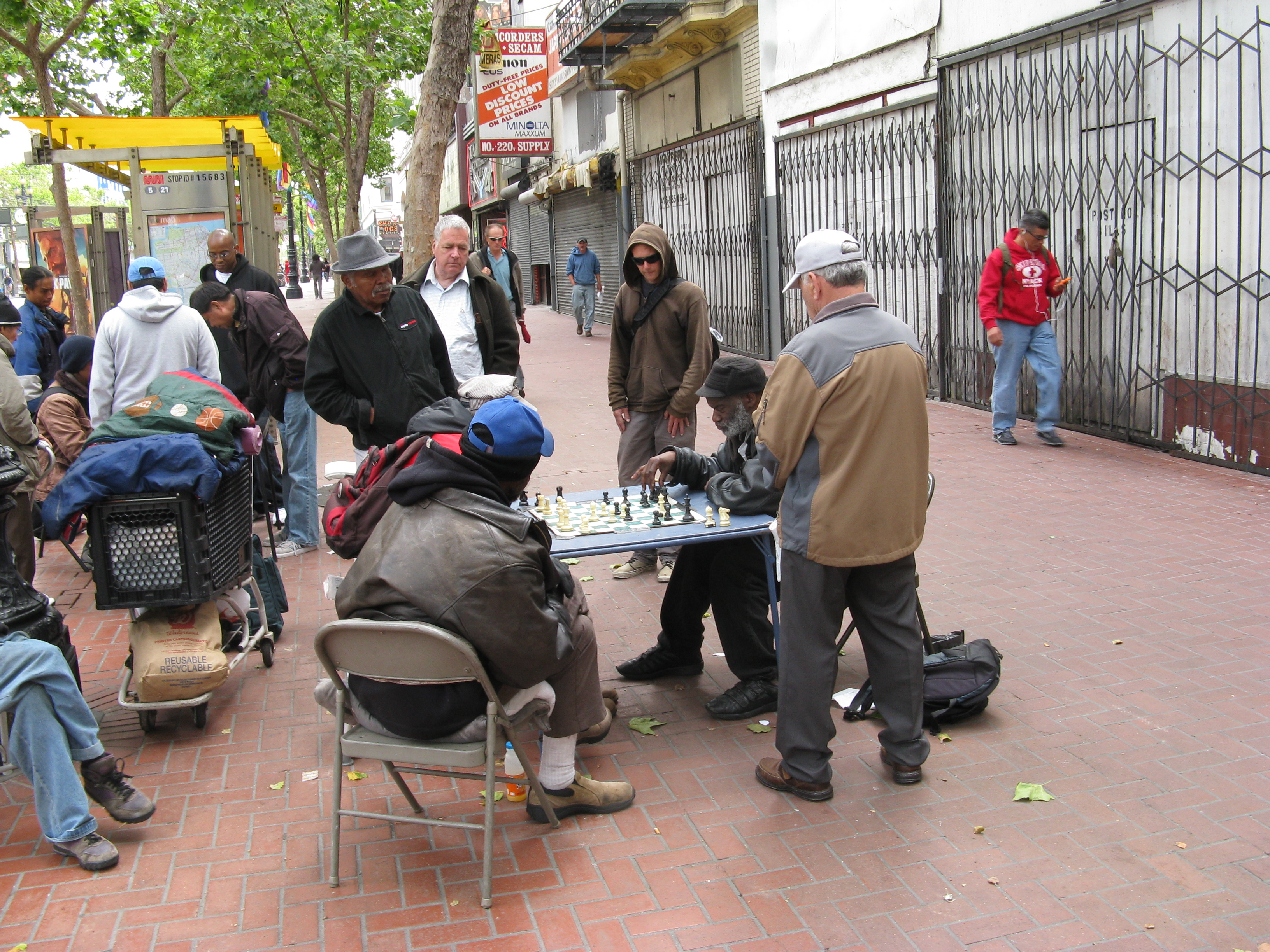 People playing chess in the street in Tenderloin, San Franciso