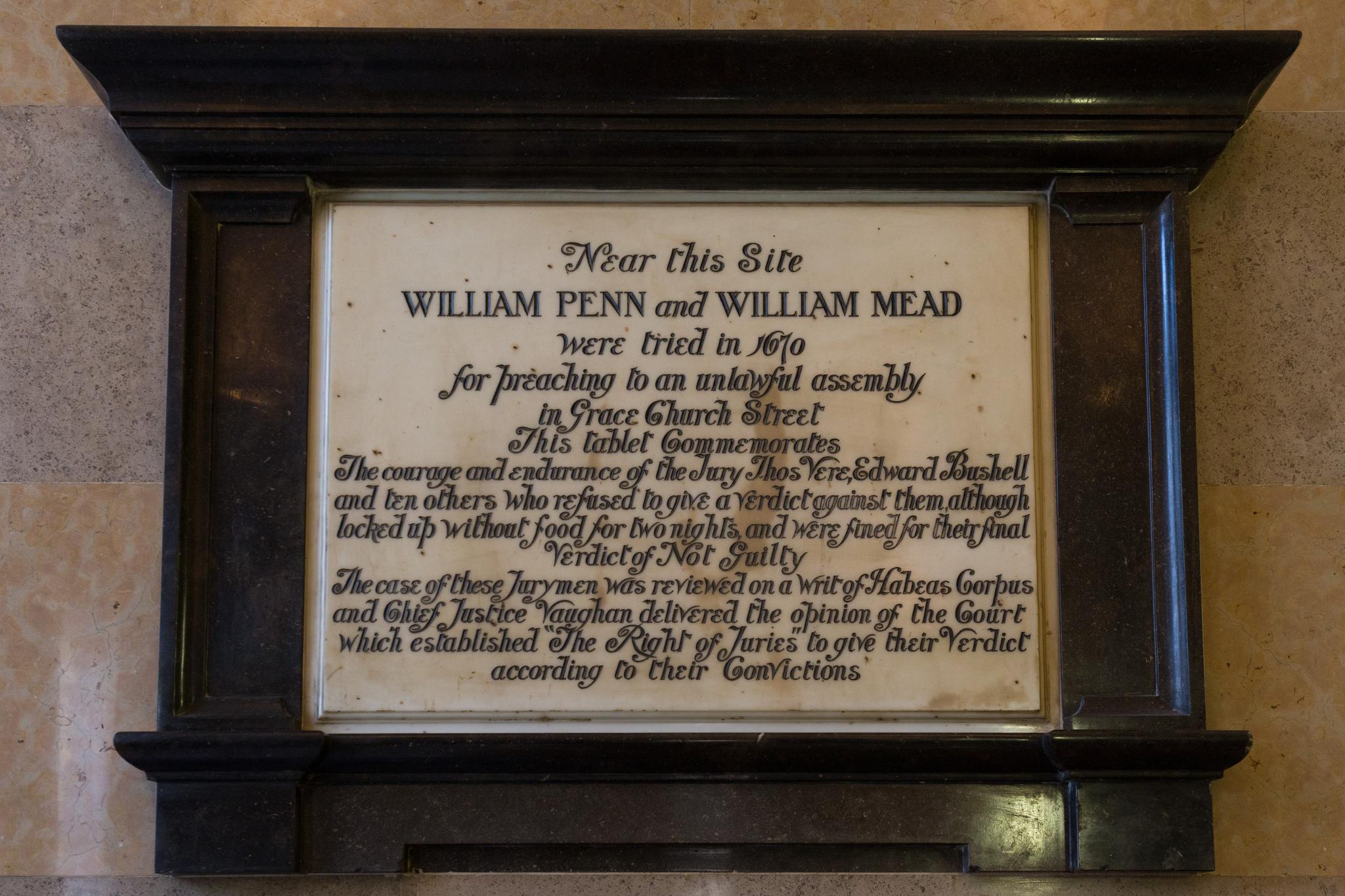 William Penn & William Mead Plaque (Flickr: Paul Clarke)