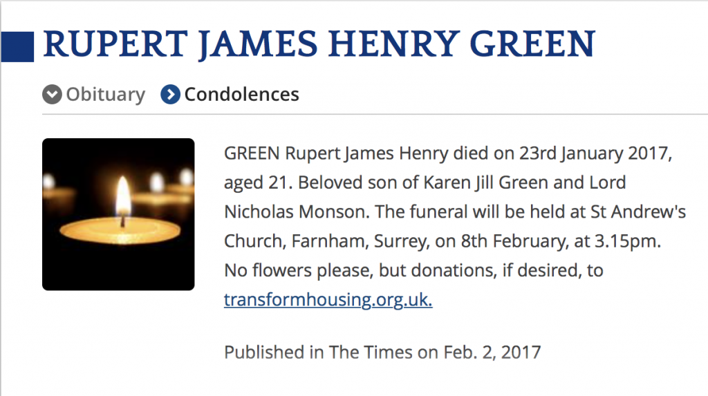 Obituary for Rupert Green, the son of Lord Monson. (The Times)