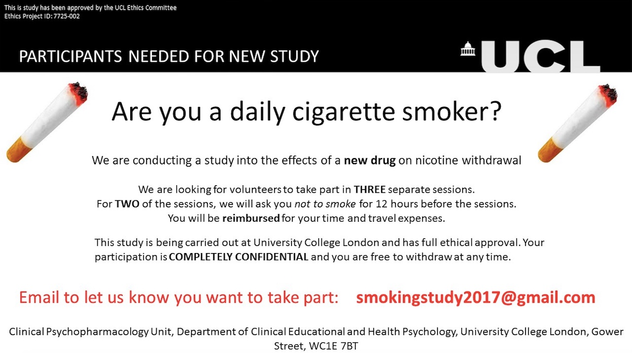 Call for Volunteers: Do You Smoke Cigarettes Everyday