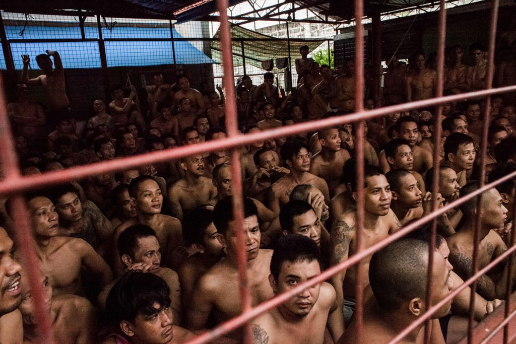 Inside an overcrowded Filipino prison cell.